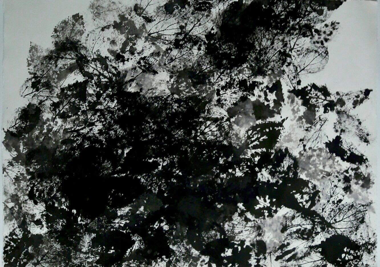 Trace - Encre de chine sur papier marouflé sur toile, 79x108cm